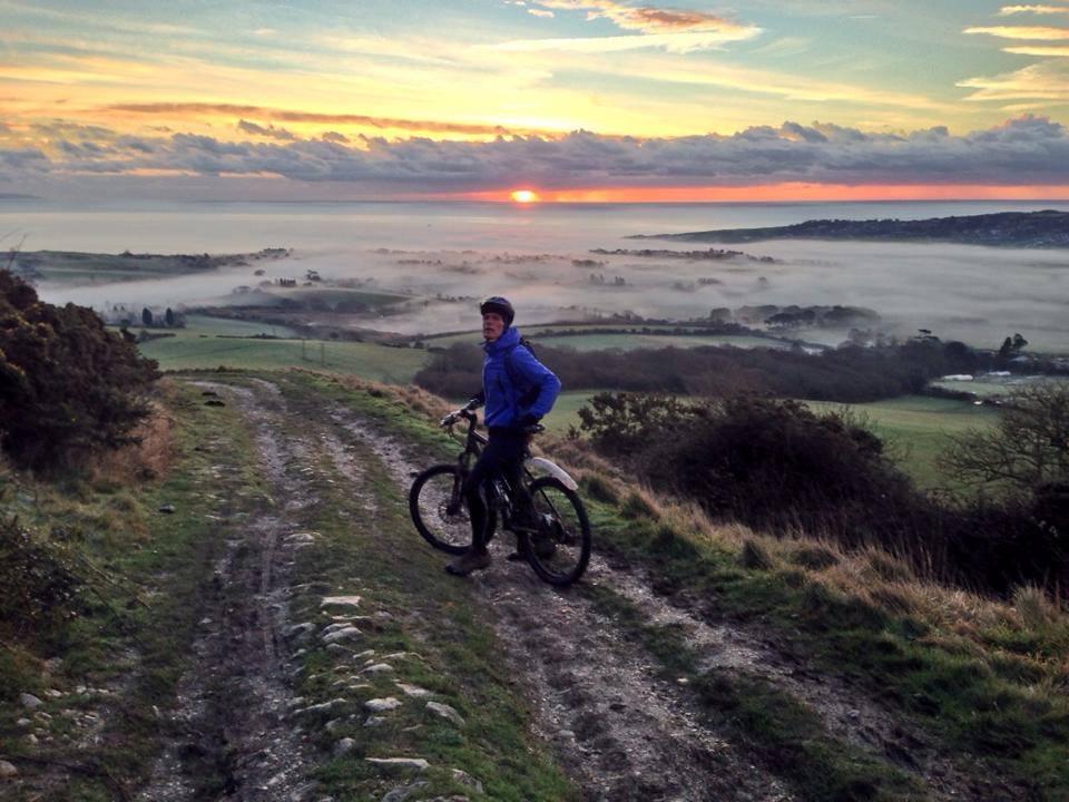 Mountain biking sunrise view in Dorset