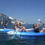 Hen party kayaking off the Dorset coast