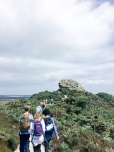 Students walking to Agglestone Rock