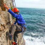 climbing cliff with sea views in dorset