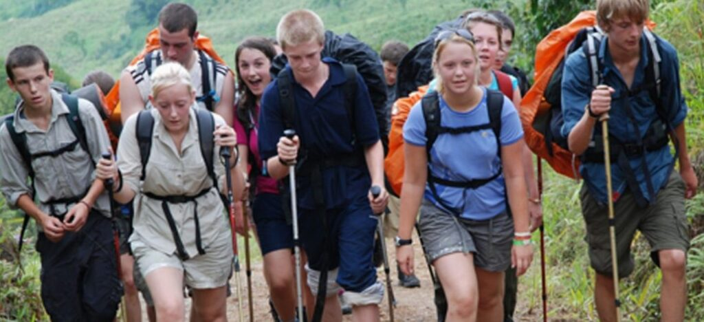 Group walking on dofe expedition