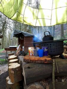 Cooking and shelter facilities at the bushcraft site near Corfe Castle