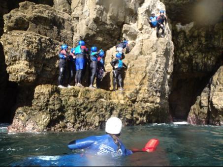 coasteering on rocks
