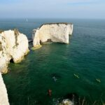 Kayakers close to the base of Old Harry Rocks