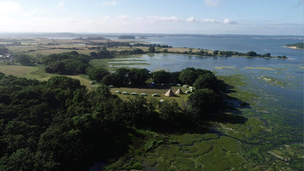 Aerial view of the campsite on the shores of Poole Harbour