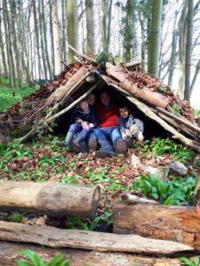 Bushcraft family shelter building