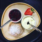 Scone, jam and clotted cream cream tea