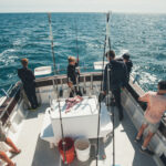 School residential group mackerel fishing off the Dorset coast