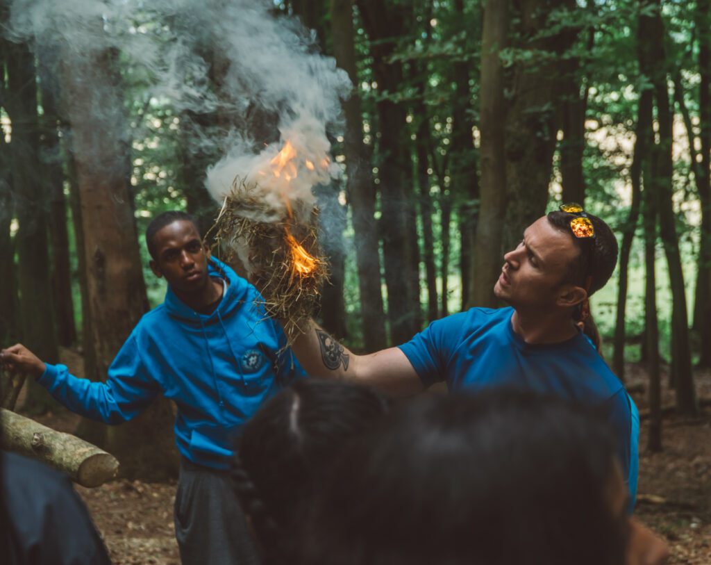 bushcraft session in isle of purbeck woodland instructor