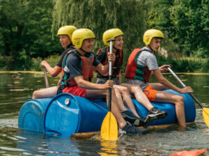 raft building outdoor adventure activity